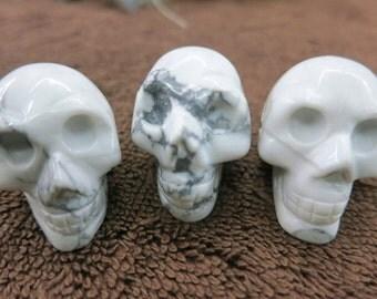 2pcs -Large Synthetic White Magnesite Skull Pendant Beads 20x25x30mm- 4mm big hole