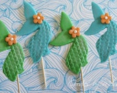 12 fondant shimmer mermaid fins (EDIBLE)