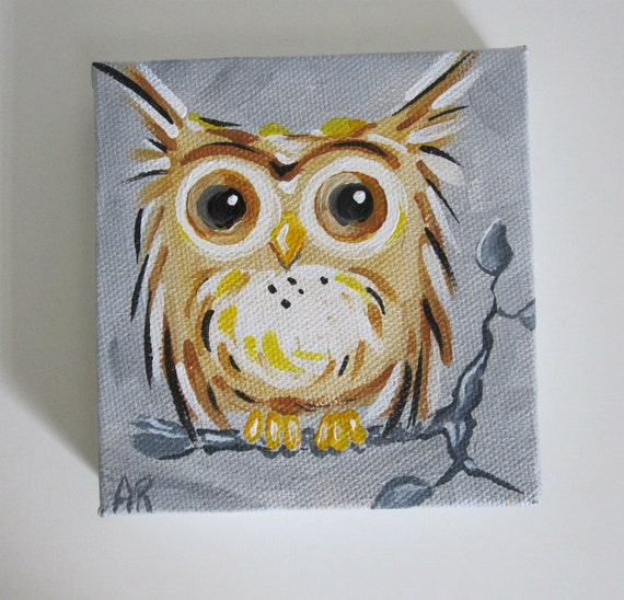 Owl Original Canvas Painting Owl on a Tree Branch 4x4Simple Owl Painting