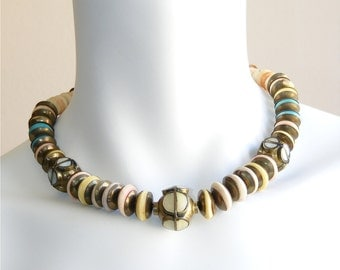 Vintage brass and pastel bead bohemian necklace 1960s. Ethnic metal beads mother of pearl MOP inlay. Statement necklace. Unworn Vintage.
