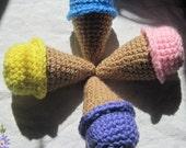 Crochet Mini Ice Cream Cones- Set of 4