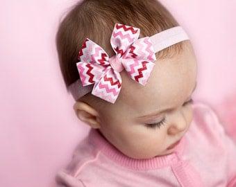 Valentine's headband, baby headband, infant headband, chevron headband, Valentine's day headband, red white pink headband