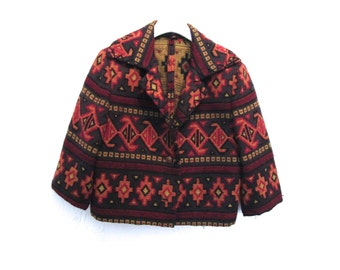 90's Aztec Woven Cropped Coat size - S/M