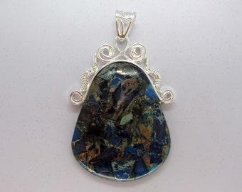 Beautiful Pyrite Variscite Pendant