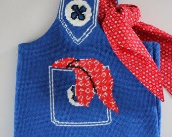 Purse and scarf handmade needlepoint blue, white and red pocket buttons 1960's rockabilly denim bandanna shoulder bag kitsch picnic look fun