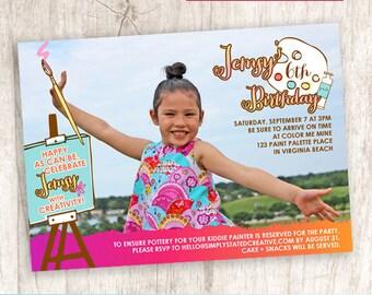 Girls Art Birthday Party Photo Invitation, Painting Party Invite, Girl Birthday - DiY Printable, Print Service Available || Artsy Party Girl
