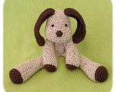 puppy dog stuffed crochet plush in creme, brown and forest cotton yarn handmade amigurumi animal