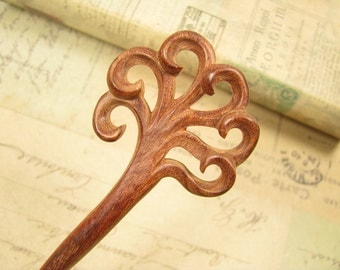 Swartizia Wood Hair Stick - Flower