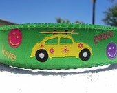 """Surfing Dog Collar 3/4"""" or 1"""" wide Side Release Peace, Love and VW'S - martingale style is cost upgrade"""