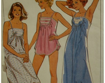 "Baby Doll Pajamas Pattern, Shoestring Strap Nightgown, Front Yoke, Vintage 1980s Style No.4135 UNCUT Size Small 10-12, Bust 32.5-34"" 83-87cm"