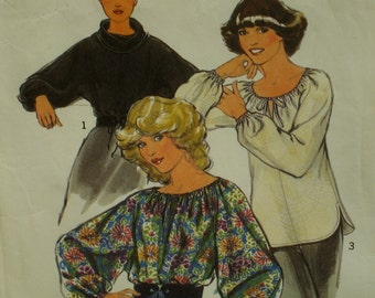 Peasant Blouse Pattern, Drawstring Neckline, Full Sleeves, Cowl Neck Top, Kimono Sleeves, Vintage 1970s Style No.2037 UNCUT Size 12  Bust 34