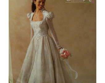Juliet  Bride Dress Pattern, Fitted Shaped Bodice, Open Neck, Long Sleeves, Skirt Overlay, Alicyn,McCalls No.4713 UNCUT Size 8 10 12 14