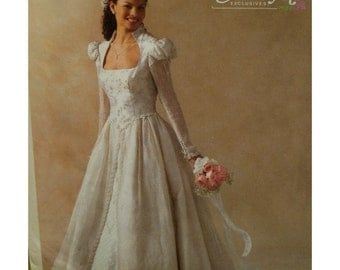 Juliet Style Bride Dress Pattern, Fitted Shaped Bodice, Open Neck, Long Sleeves, Skirt Overlay,Alicyn,McCalls No.4713 UNCUT Size 8 10 12 14