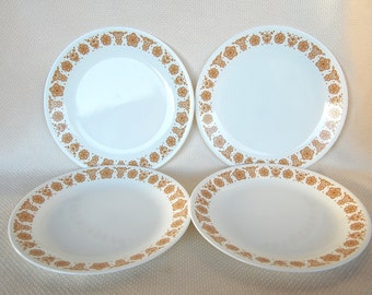 Set of 4 Vintage Corelle Butterfly Gold Dinner Plates with Gold Flowers and Butterflies in Excellent Condition