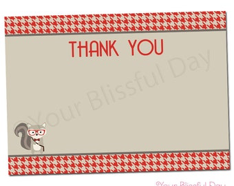 PRINTABLE Hipster Squirrel Thank You Cards #539