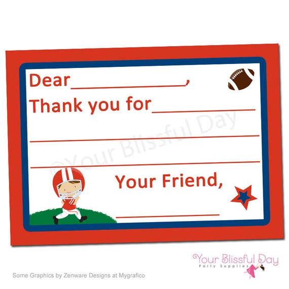 PRINTABLE Football Fill-in-the-Blank Thank You Cards (Character of your choice) #529