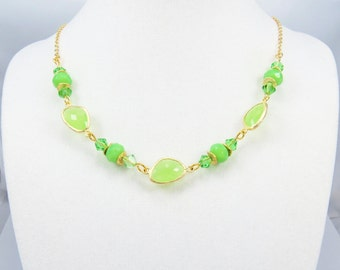 Lime Green Glass Fashion Necklace, Beaded Necklace, Green Necklace, Swarovski Crystals