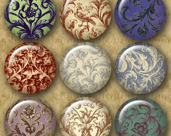 ORNAMENTAL RENAISSANCE 1 inch Circles - Digital Printable collage sheet for Jewelry Pendants Magnets Crafts...Floral Swirls Flourishes