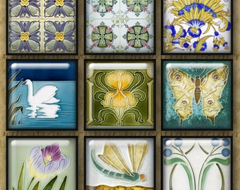 ART NOUVEAU TILES 1 inch Squares - Digital Printable art collage sheet for Jewelry Pendants Magnets Crafts
