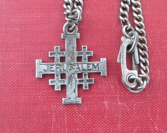 Sterling Silver Bracelet - Jerusalem Maltese Cross Pendant / Charm