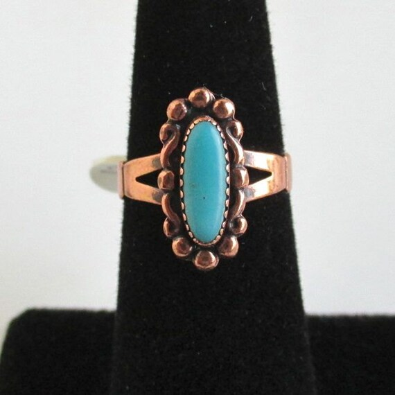1970's Solid Copper & Turquoise Ring - Unused Stock - Size 5