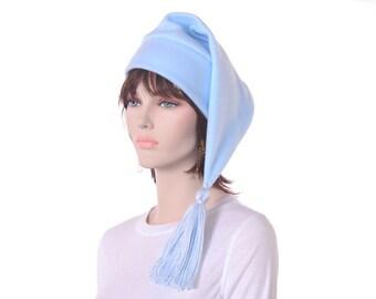 Pastel Baby Blue Stocking Hat with Tassel Long Elf Hat Mens Women Cap