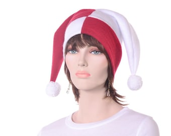 Red and White Harlequin Cap Costume Jester Hat Two Pointed with Pompoms