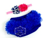 Royal Chiffon Ruffle Bloomer and Double Shabby Chic Headband Set - Baby Photo Prop Set - Newborn Photo Prop Set - Baby Gift Set