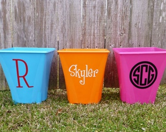 Personalized Trash Can - Assorted Colors - Monogram Trashcan - Dorm room