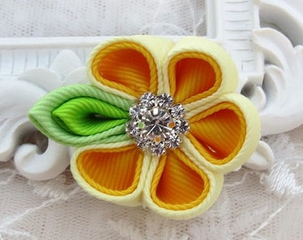 Kanzashi Flower Hair clip in Two Shade of Yellow Color Combination
