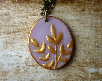 Porcelain Cameo Leaves Necklace - Lavender and Gold - Delicate Feminine jewelry