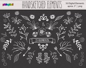Hand Drawn Elements Pack - digital clip art - Personal and Commercial Use - with 6 logo templeat Bonus