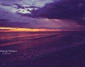 Beach Photography, Sunset Print, Ocean Wall Art, Dark Purple, Water Sand, Orange Sunset, Seashore Photo, Sunset Decor, Stormy, Florida Beach