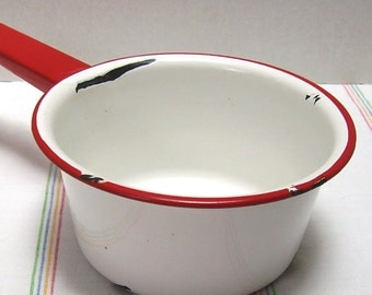 Small Granite Pot - White with Red Rim and Handle - Farmhouse Chippy