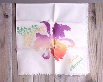 50s Hawaiian Scarf - Vintage 1950s Aloha Hawaii Hibiscus Flower Scarf