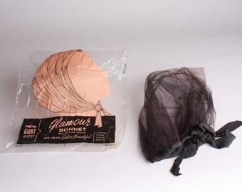 50s Tulle Bonnet - Vintage Glamour Bonnet - Black Mesh Bonnet - Wet Sets