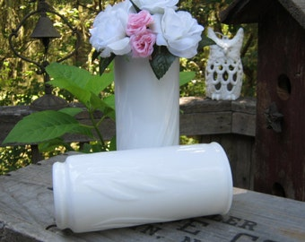 Pair of White Milk Glass Vases in Swirl Leaf Design - Oak Hill Vintage