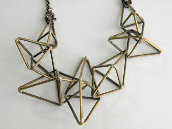Constellation Necklace, handcrafted in bronze / Geometric, Triangle Prism Galaxy Sculpture