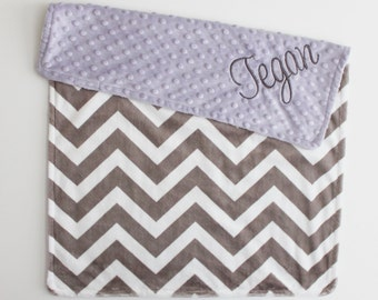 Personalized Gray and White Chevron Blanket, Lavender Minky Blanket or Lovey, Custom Blanket, Baby Blanket, Double Minky, Lavender and Gray
