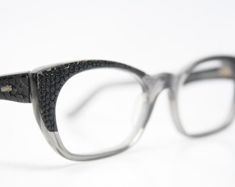 Black Fade Reptile Cat Eye Glasses Cateye Eyeglasses NOS Vintage Glasses