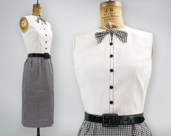 1960s wiggle dress / 60s gingham dress / Mad Men style / black and white