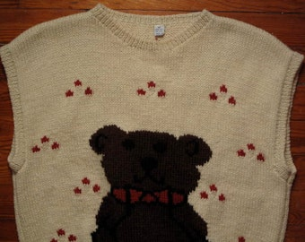women's vintage hand knit teddy bear sleeveless sweater.