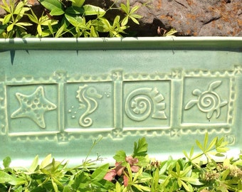 Sea Life Platter, Green, Blue  #platter  #sea turtle  #starfish  #shell  #sea horse  #serving dish