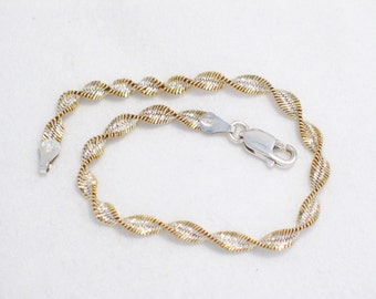 Sterling silver gold rope bracelet 7 1/16 in Italian made bi color gold twisted herringbone type link chain spiral fine jewelry