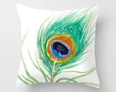 Decorative Pillow Cover - Peacock Feather - Throw Pillow Cushion - Fine Art Home Decor