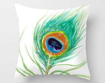Decorative Pillow Cover - Peacock Feather - Throw Pillow Cushion - Fine Art Home Decor