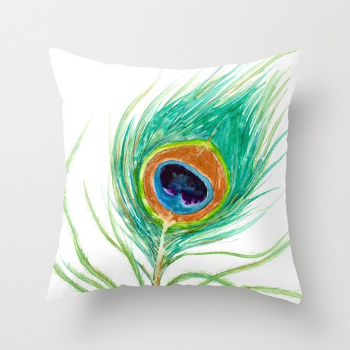 Decorative Pillows Feather : Decorative Pillow Cover Peacock Feather Throw Pillow