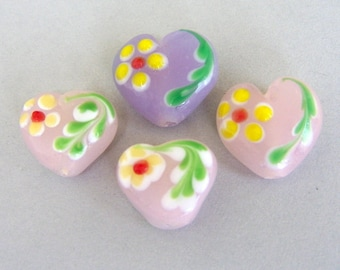 4 lampwork heart beads with flowers, lavender and pale pink