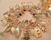 Ultimate Holiday Charm Bracelet, New Year, Confetti,  2 Snow Globes. Glow in the Dark, SALE, Silver Bells, Snowflakes