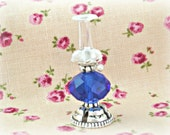 Oil Lamp Vintage Style Royal Blue Doll House miniature One Inch Scale 12th